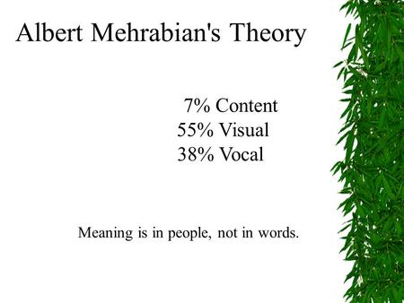 Albert Mehrabian's Theory 7% Content 55% Visual 38% Vocal Meaning is in people, not in words.