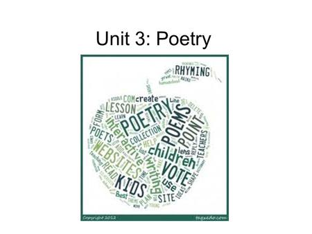 Unit 3: Poetry. Have you every thought about why poems look different from other kids of writing?