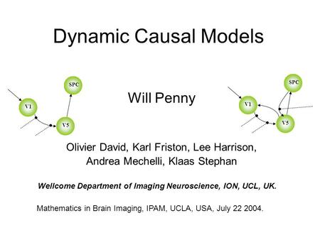 Dynamic Causal Models Will Penny Olivier David, Karl Friston, Lee Harrison, Andrea Mechelli, Klaas Stephan Mathematics in Brain Imaging, IPAM, UCLA, USA,