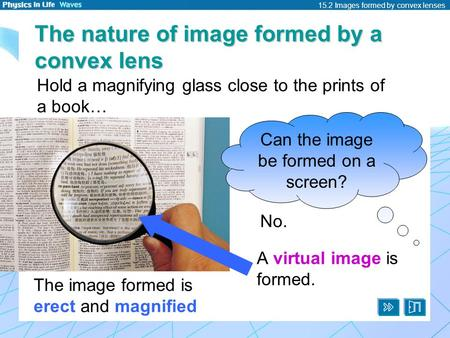 15.2 Images formed by convex lenses The nature of image formed by a convex lens Can the image be formed on a screen? The image formed is erect and magnified.