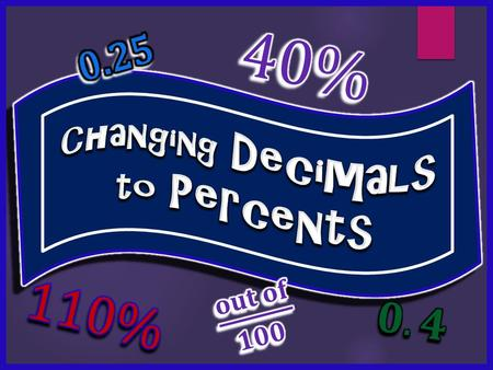 We use the ( % ) symbol instead of writing fractions with a denominator of 100.
