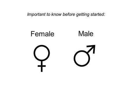 Female Male Important to know before getting started:
