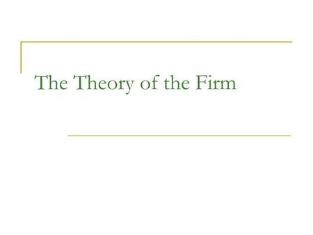 The Theory of the Firm. Production Function States the relationship between inputs and outputs Inputs – the factors of production classified as: 