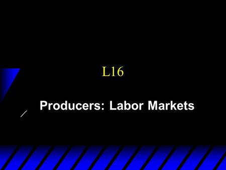 L16 Producers: Labor Markets. Labor supply (consumers)
