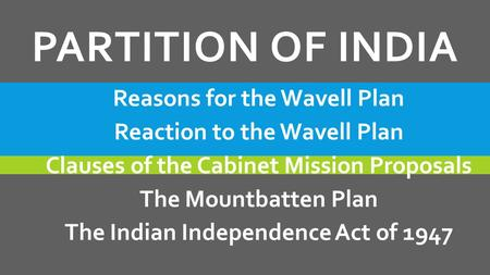 PARTITION OF INDIA Reasons for the Wavell Plan Reaction to the Wavell Plan Clauses of the Cabinet Mission Proposals The Mountbatten Plan The Indian Independence.
