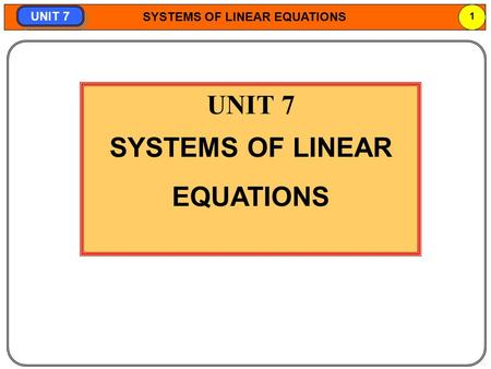 Part1 SYSTEMS OF LINEAR EQUATIONS.