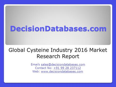 Global Cysteine Industry 2016 Market Research Report