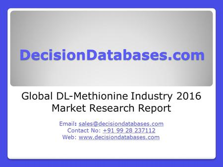 Global DL-Methionine Industry 2016 Market Research Report