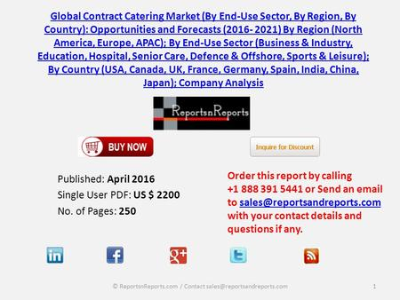 Global Contract Catering Market (By End-Use Sector, By Region, By Country): Opportunities and Forecasts (2016- 2021)