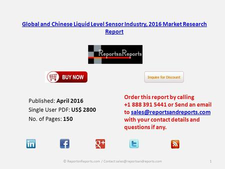Global and Chinese Liquid Level Sensor Industry, 2016 Market Research Report