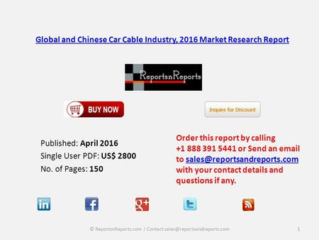 Global and Chinese Car Cable Industry, 2016 Market Research Report