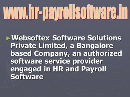 ► Websoftex Software Solutions Private Limited, a Bangalore based Company, an authorized software service provider engaged in HR and Payroll Software.