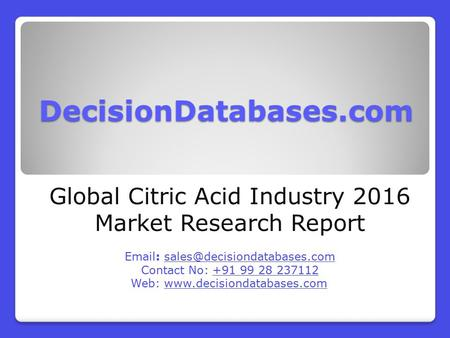 Citric Acid Market Report -  Global Industry Analysis