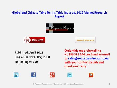 Global and Chinese Table Tennis Table Industry, 2016 Market Research Report