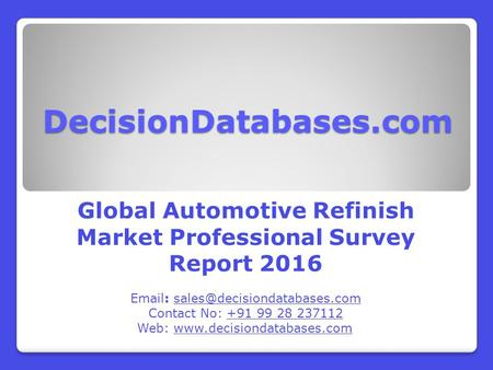 Worldwide Automotive Refinish Industry Key Manufacturers Analysis 2021