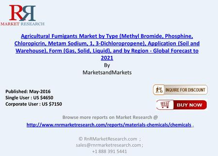 Agricultural Fumigants Market by Type (Methyl Bromide, Phosphine, Chloropicrin, Metam Sodium, 1, 3-Dichloropropene), Application (Soil and Warehouse),