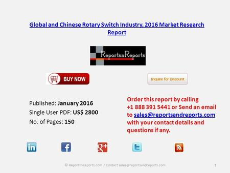 Global and Chinese Rotary Switch Industry, 2016 Market Research Report