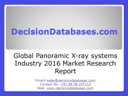 Global Panoramic X-ray systems Market 2016-2021
