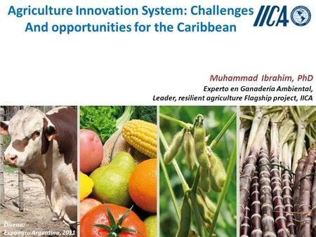 Agriculture Innovation System: Challenges And opportunities for the Caribbean Muhammad Ibrahim, PhD Experto en Ganadería Ambiental, Leader, resilient agriculture.