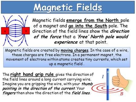 Magnetic Fields Magnetic fields emerge from the North pole of a magnet and go into the South pole. The direction of the field lines show the direction.