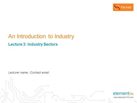 An Introduction to Industry Lecture 3: Industry Sectors Lecturer name | Contact email.