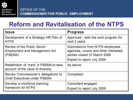 OFFICE OF THE COMMISSIONER FOR PUBLIC EMPLOYMENT Reform and Revitalisation of the NTPS IssueProgress Development of a Strategic HR Plan of NTPS Approved.