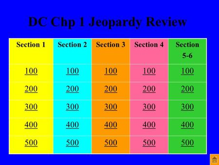 DC Chp 1 Jeopardy Review Section 1Section 2Section 3Section 4Section 5-6 100 200 300 400 500.