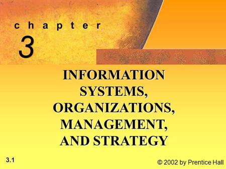 3.1 © 2002 by Prentice Hall c h a p t e r 3 3 INFORMATION SYSTEMS, ORGANIZATIONS, MANAGEMENT, AND STRATEGY.