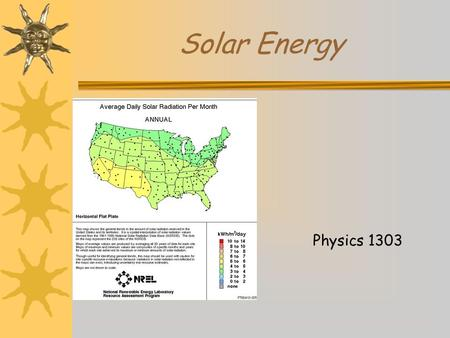 Solar Energy Physics 1303. Three forms of solar energy.  Passive Solar  Active Solar  Photovoltaic.
