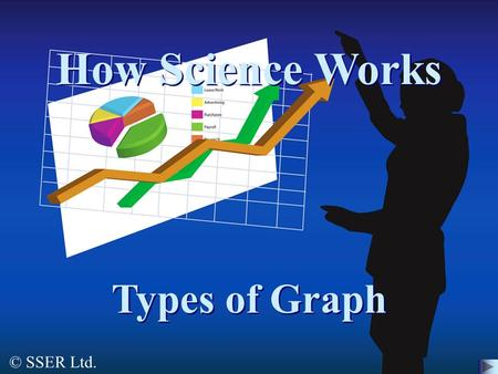 © SSER Ltd. How Science Works Types of Graph. This presentation looks at the following types of graph: 1.Bar Chart 3.Line Graph4.Pie Chart 5.Scatter Graph.