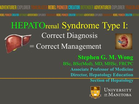 HEPATO renal Syndrome Type I: Correct Diagnosis = Correct Management Stephen G. M. Wong BSc, BSc(Med), MD, MHSc, FRCPC Associate Professor of Medicine.