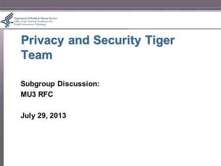 Privacy and Security Tiger Team Subgroup Discussion: MU3 RFC July 29, 2013.