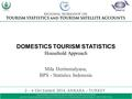DOMESTICS TOURISM STATISTICS Household Approach Mila Hertinmalyana, BPS - Statistics Indonesia.