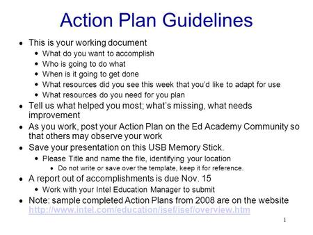 1 Action Plan Guidelines  This is your working document  What do you want to accomplish  Who is going to do what  When is it going to get done  What.