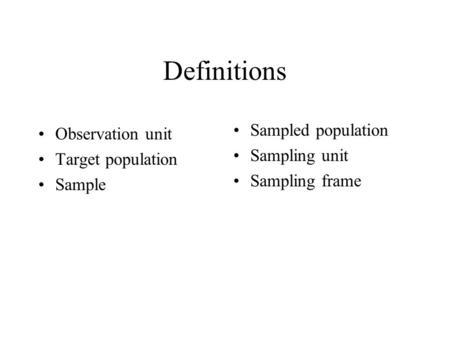 Definitions Observation unit Target population Sample Sampled population Sampling unit Sampling frame.