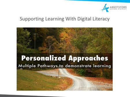 Supporting Learning With Digital Literacy. Goals of Meeting Information tools to share with your staff; launching survey on instruction using technology.