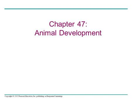 Copyright © 2005 Pearson Education, Inc. publishing as Benjamin Cummings Chapter 47: Animal Development.