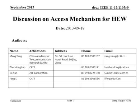 September 2013 doc.: IEEE 11-13/1105r0 Submission Meng Yang (CATR) Discussion on Access Mechanism for HEW Date: 2013-09-18 Authors: NameAffiliationsAddressPhoneEmail.