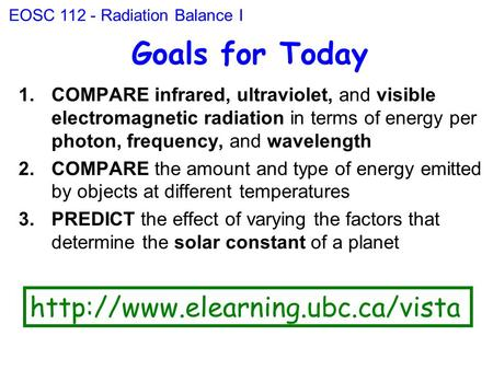 Goals for Today 1.COMPARE infrared, ultraviolet, and visible electromagnetic radiation in terms of energy per photon, frequency, and wavelength 2.COMPARE.