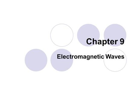 Chapter 9 Electromagnetic Waves. 9.2 ELECTROMAGNETIC WAVES.