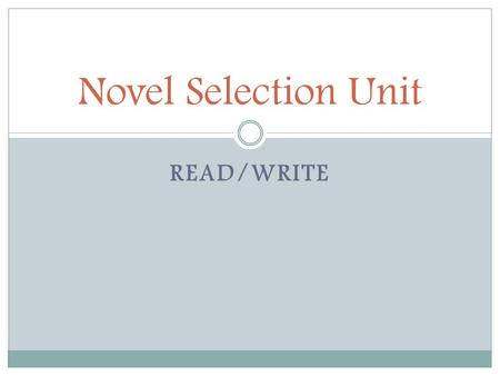 READ/WRITE Novel Selection Unit. A Fate Totally Worse Than Death.
