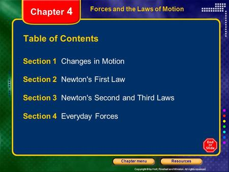 Copyright © by Holt, Rinehart and Winston. All rights reserved. ResourcesChapter menu Forces and the Laws of Motion Chapter 4 Table of Contents Section.