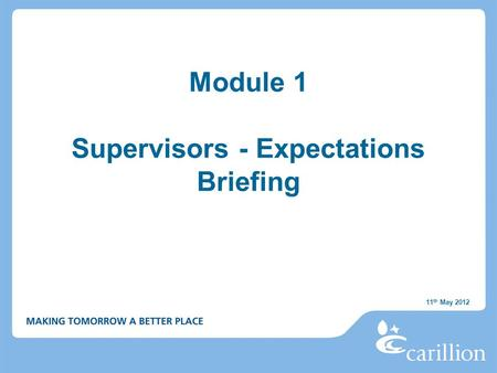 Module 1 Supervisors - Expectations Briefing 11 th May 2012.