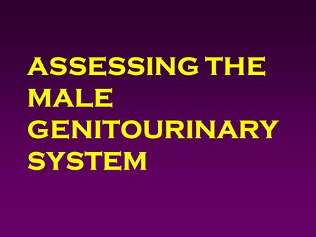 ASSESSING THE MALE GENITOURINARY SYSTEM. Outcomes 4 Identify pertinent male genitourinary history questions. 4 Obtain a male genitourinary history. 4.