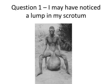 Question 1 – I may have noticed a lump in my scrotum.