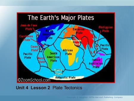 Unit 4 Lesson 2 Plate Tectonics Copyright © Houghton Mifflin Harcourt Publishing Company.