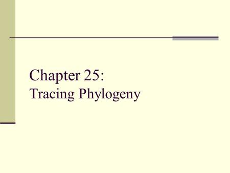 Chapter 25: Tracing Phylogeny. Phylogeny Phylon = tribe, geny = genesis or origin The evolutionary history of a species or a group of related species.