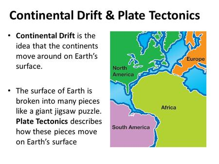 Continental Drift is the idea that the continents move around on Earth's surface. The surface of Earth is broken into many pieces like a giant jigsaw puzzle.