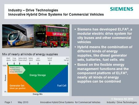 Page 1 May 2010 © Siemens AG 2010 Industry / Drive Technologies Innovative Hybrid Drive Systems for Commercial Vehicles Industry – Drive Technologies Innovative.