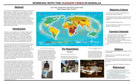 WORKING WITH THE HUNGER CRISIS IN SOMALIA Luke Yates, Andrew Roth, Allie Temkin, Patrick Ward Beloit College, Beloit, WI 53511 Abstract Across the globe,